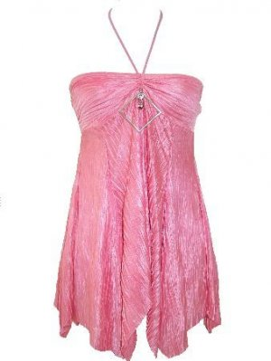 Pink Attached Diamond Pleated Halter Top Small Women's Juniors