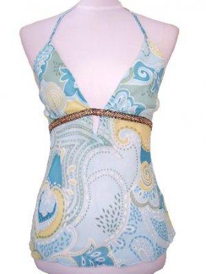 Blue Classic Print Bohemian Style Semi Sheer Halter Top Medium, Women's Juniors