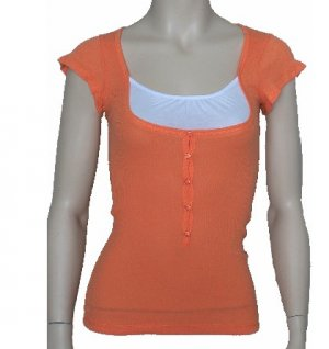Orange Sam Ribbed Tee  Small, Women's Juniors