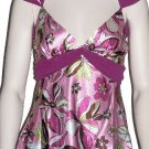 Pink Satin Print Detailed Waist Double Strap Top Medium, Women's Juniors