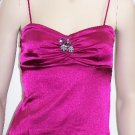 Fuchsia Satin Broach Spaghetti Strap Top W/Inside Bra Medium, Women's Juniors