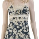 Blue Floral Print Lace Detail Top Large, Women's Juniors