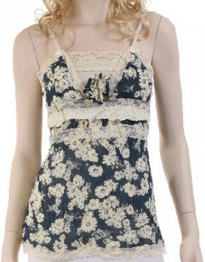 Blue Floral Print Lace Detail Top Large, Women's Juniors
