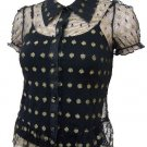 Black Victorian Gold Polka Dot Cap Sleeve Top Small, Women's Juniors