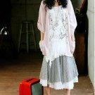 R815 new designed elegance long white+black gird twinset skirt
