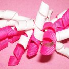 Korkie Korker Bow - Hot Pink and White