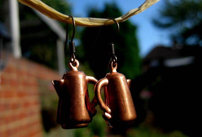 Handmade Earrings - Vintage coffee Pot Charms!