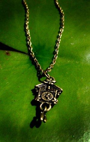 Handmade Tiny Cuckoo Clock Necklace