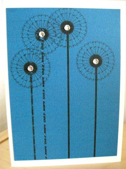 Handmade Card - Bright Blue Dandelions