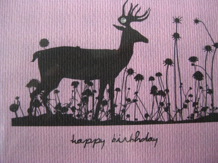 Handmade Card - Happy Birthday - Pale Pink Deer in Flowers