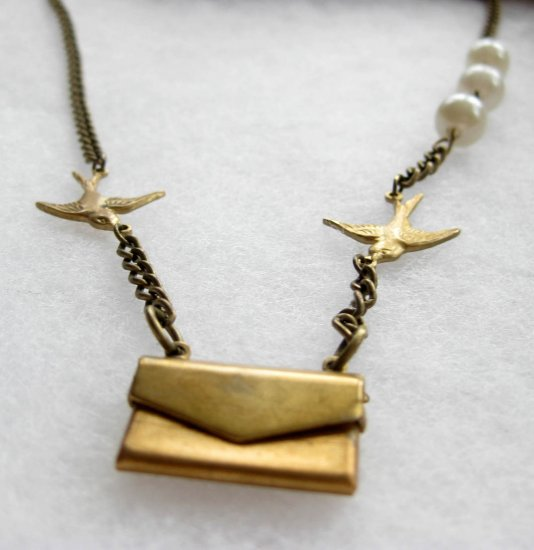 Handmade Necklace - Swallows with Envelope containing 'I Love You' Note!
