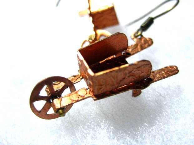 Handmade Vintage Wheelbarrow Earrings