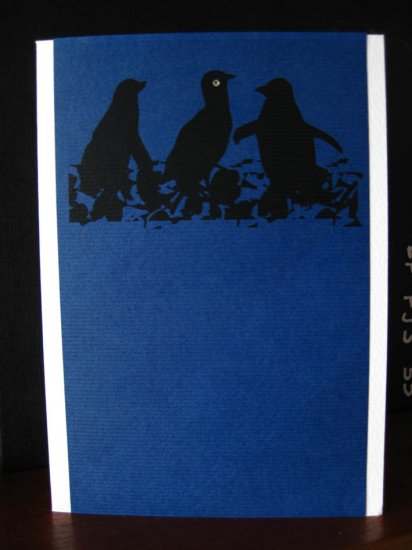 Handmade Card - Blue Penguins
