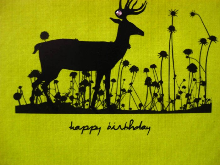 Handmade Card - Happy Birthday - Yellow Deer in Flowers