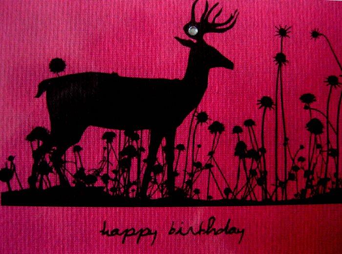 Handmade Card - Happy Birthday - Deep Pink Deer in Flowers