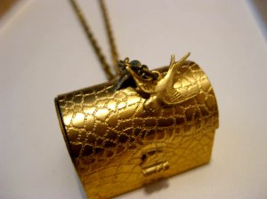 Handmade Necklace - Suitcase & Swallow