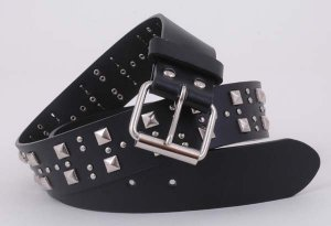 """Black Leather Motorcycle Fashion Belt Silver Stud 37"""" S"""