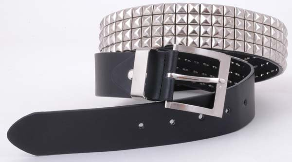 Black Silver Stud Motorcycle Leather Fashion Belt 41""