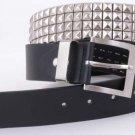 "Black Silver Stud Motorcycle Leather Fashion Belt 41"""