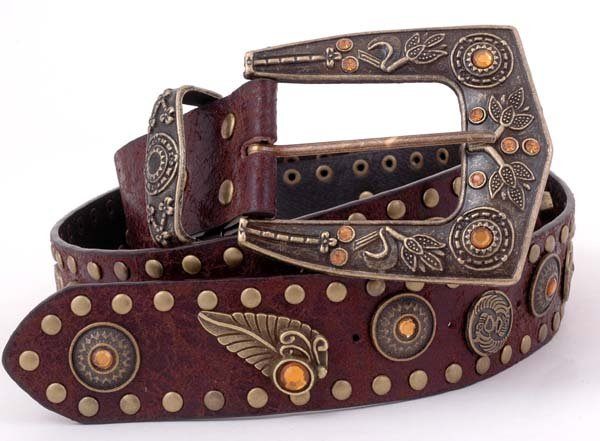 """Brown Brass Leaf Rhinestone Leather Fashion Belt 41"""""""
