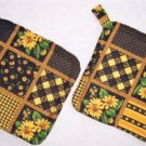 """Sunflowers - Black"" Potholder Set"
