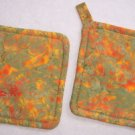 """Sage / Orange"" Potholder Set"
