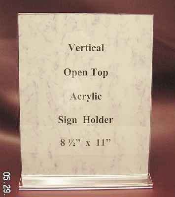 "Vertical Acrylic Sign Holders Open Top 8.5"" x11"" 10 Lot"