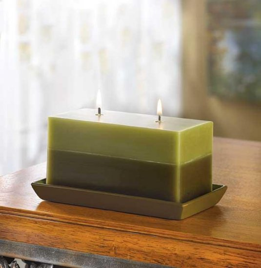 Two Tone Greenery Candle