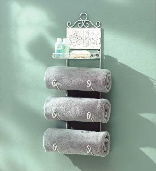 Shabby Chic Floral Tiled Towel Rack