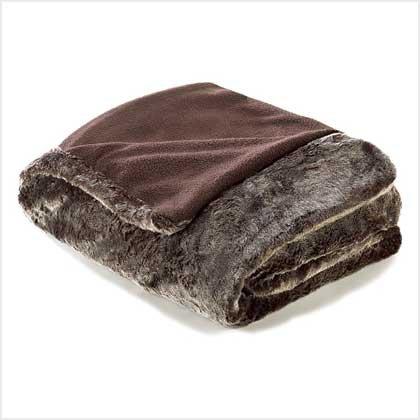 Gray Faux Fur Blanket - Twin Size