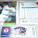 Hank Blalock Autographed Ticket & Sammy Sosa 600th HR Card