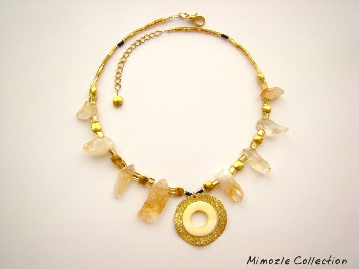 NATURAL CITRINE GOLD TONE CHOKER NECKLACE WITH PENDANT