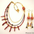 3 STRAND VINTAGE STYLE RED CORAL SPONGE NECKLACE JEWELRY SET