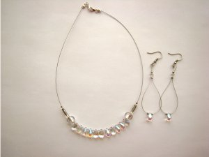 GLASS DROP SILVER NECKLACE AND SWAROVSKI EARRING SET