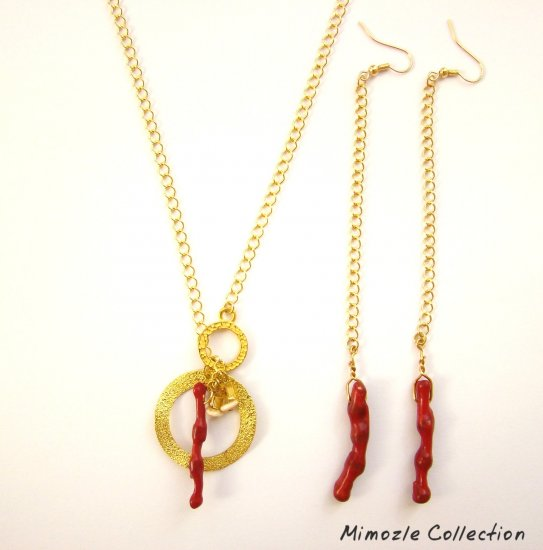 RED CORAL CIRCLE CHARM NECKLACE & EXTRA LONG EARRINGS