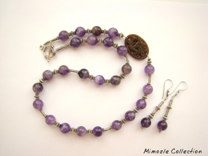 12MM AMETHYST AGATE STERLING SILVER NECKLACE & EARRINGS SET