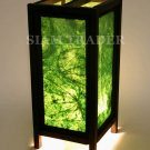 GREEN REAL LEAF THAI SAA PAPER HANDMADE WOODEN LAMP