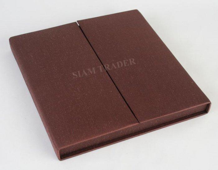 Wedding Invitation Box - 100% Thai Silk - Chocolate - GateFold