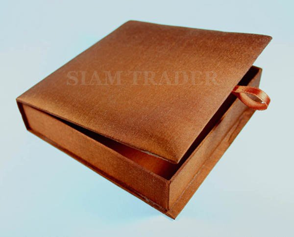 Wedding Invitation Box - 100% Thai Silk - Copper