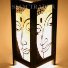 WHITE FACE OF BUDDHA GOLD LEAF THAI SAA PAPER WOOD LAMP