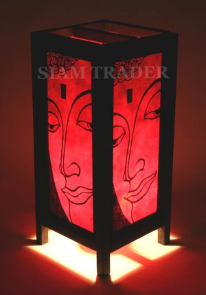 RED FACE OF BUDDHA GOLD LEAF THAI SAA PAPER WOOD LAMP