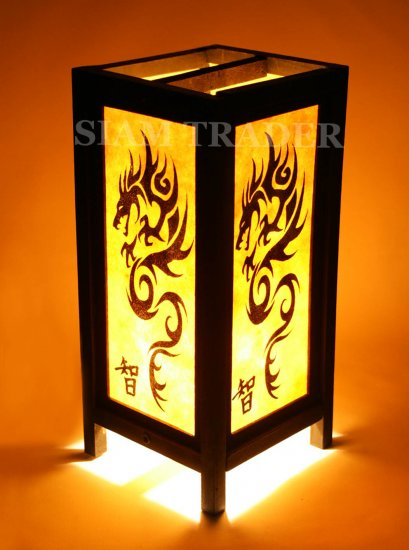 YELLOW DRAGON THAI CHINESE SAA PAPER HANDMADE WOOD LAMP
