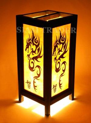 YELLOW DRAGON THAI CHINESE SAA PAPER HANDMADE WOOD LAMP