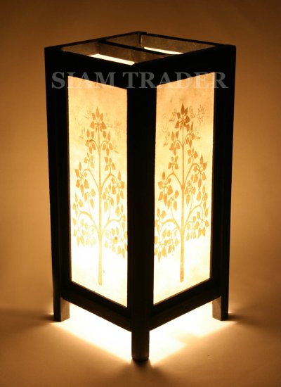 GOLDEN THAI PHO TREE SAA PAPER HANDMADE WOODEN LAMP