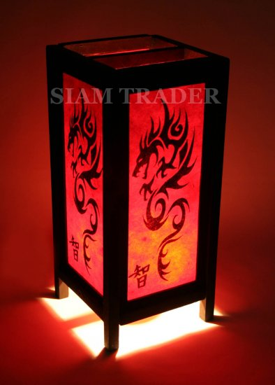 RED DRAGON THAI CHINESE SAA PAPER HANDMADE WOODEN LAMP