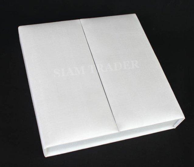 100% Thai Silk - White Wedding Invitation Box 2 Door