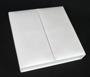 100% Thai Silk - White Wedding Invitation Box 2 Door