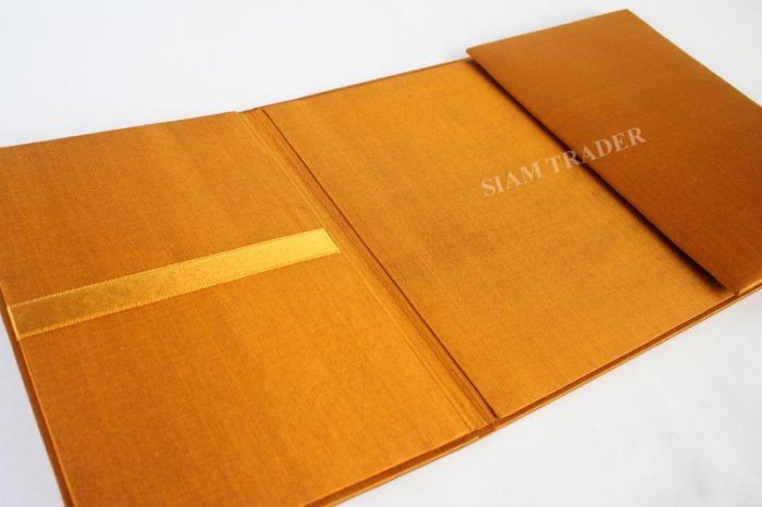 Wedding Invitation Box - Folio - 100% Thai Silk - Gold - Folio
