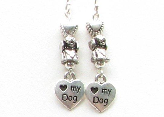 Love My Dog  Paw Print Earrings