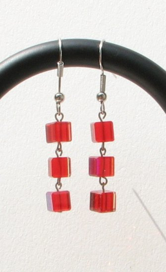 Red Square Cube Glass Dangle Wire Handmade Artisan Earrings